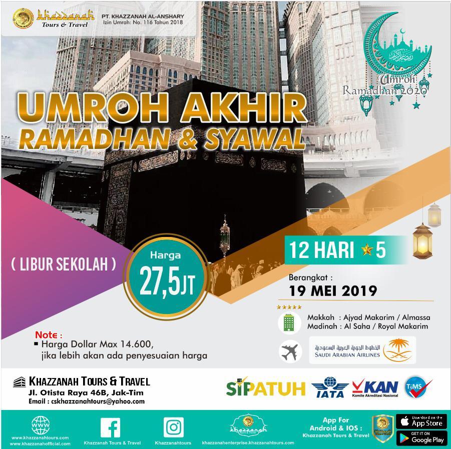 Paket Umroh 12 Hari Akhir Ramadhan 19 Mei Khazzanah Tour & Travel