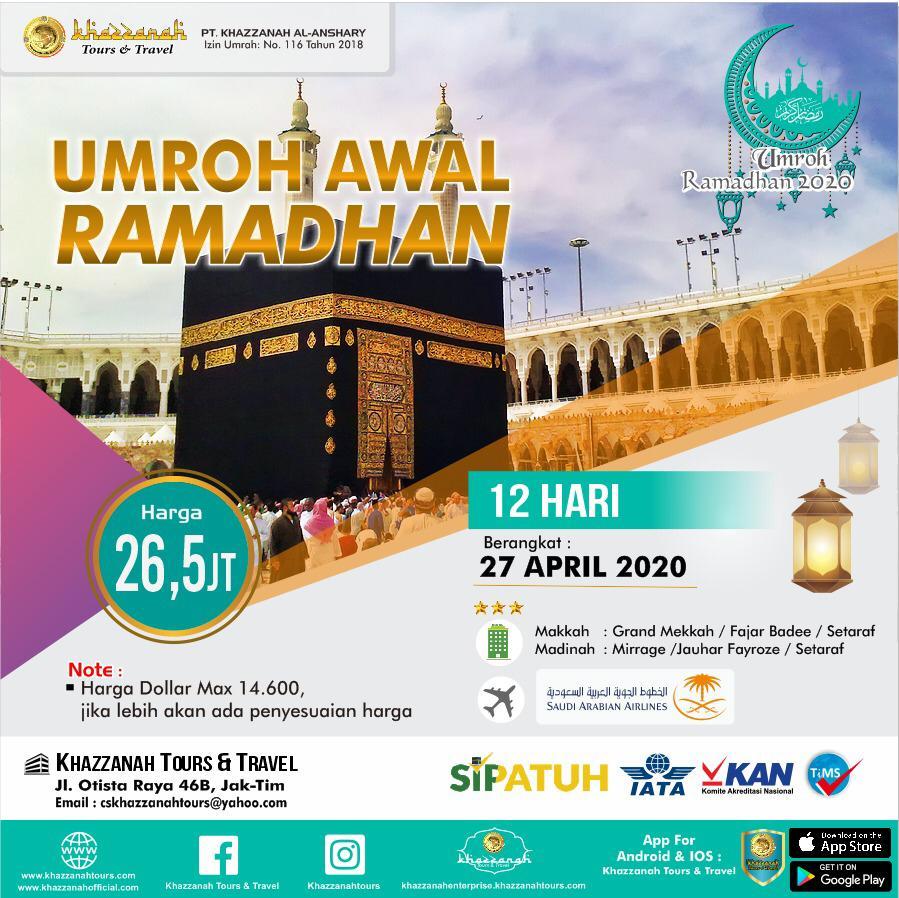 Paket Umroh 12 Hari Awal Ramadhan27 April Khazzanah Tour & Travel