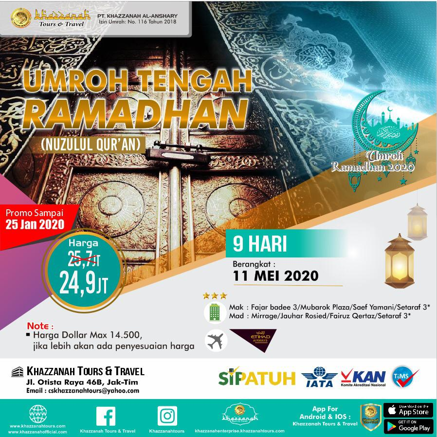 Paket Umroh 12 Hari Tengah Ramadhan 11 Mei Khazzanah Tour & Travel