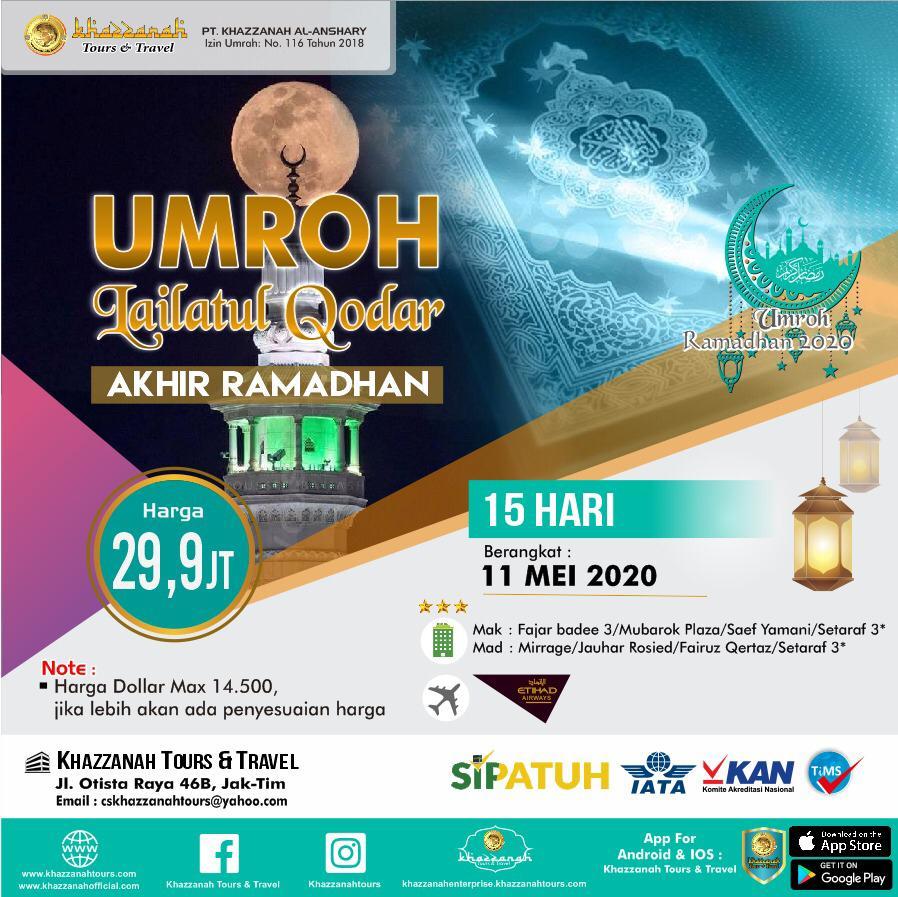 Paket Umroh 15 Hari Itikaf Lailatul Qadar Ramadhan 11 Mei Khazzanah Tour & Travel