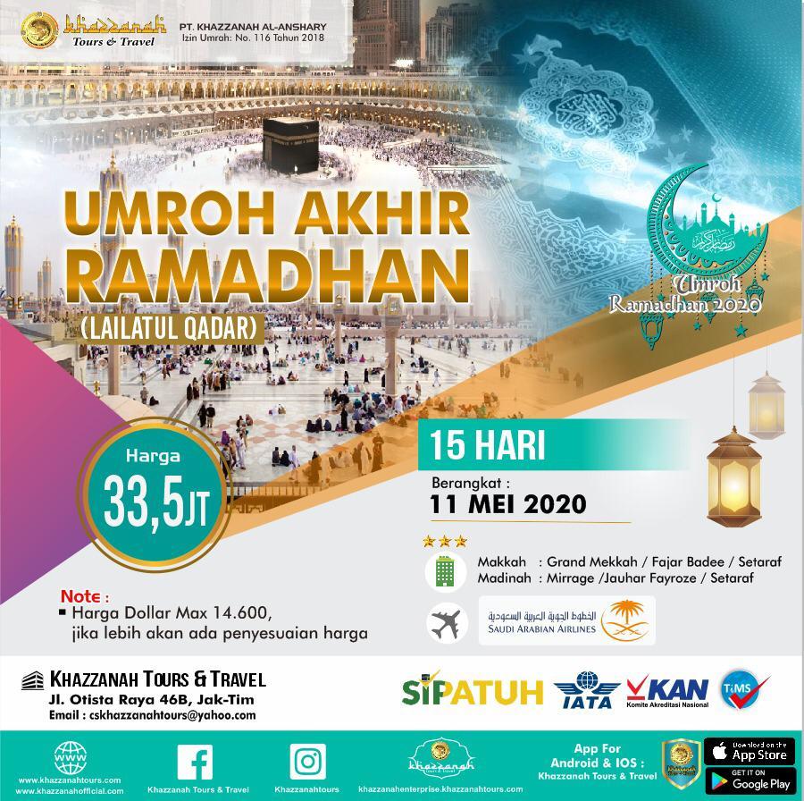 Paket Umroh 15 Hari Lailatul Qadar Itikaf Ramadhan 11 Mei Khazzanah Tour & Travel