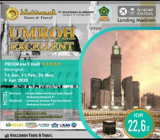 Paket Umroh 9 Hari Exellent 16 Januari Khazzanah Tour & Travel