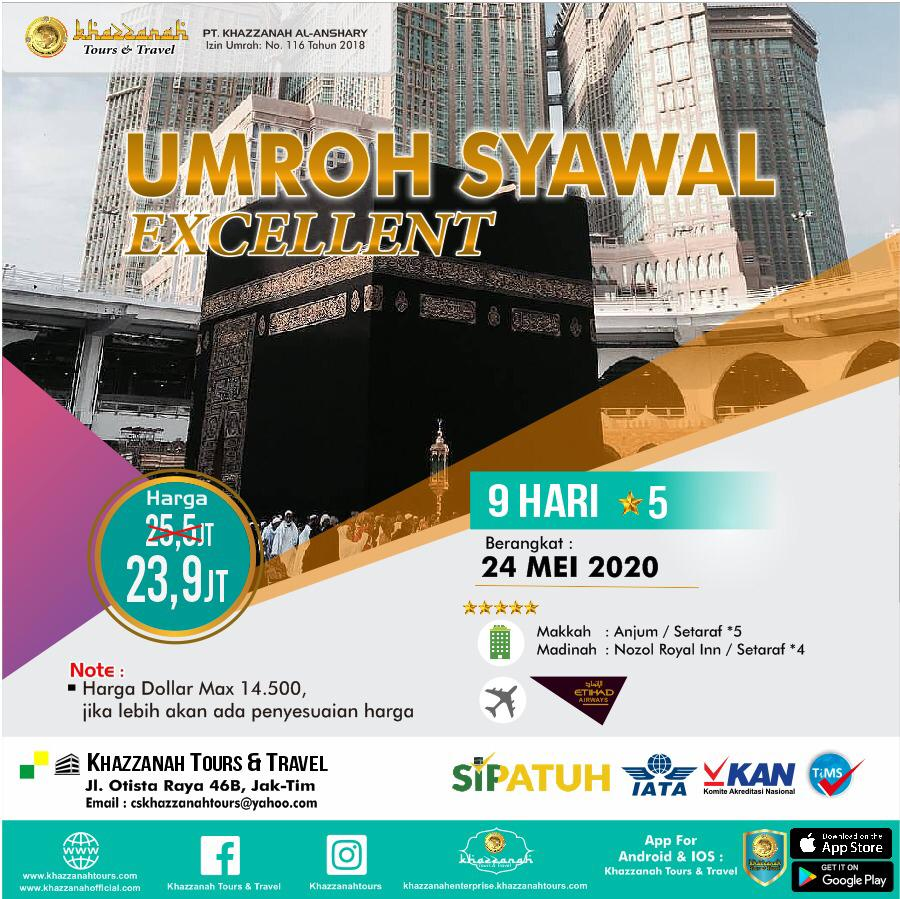 Paket Umroh 9 Hari Syawal 24 Mei Khazzanah Tour & Travel