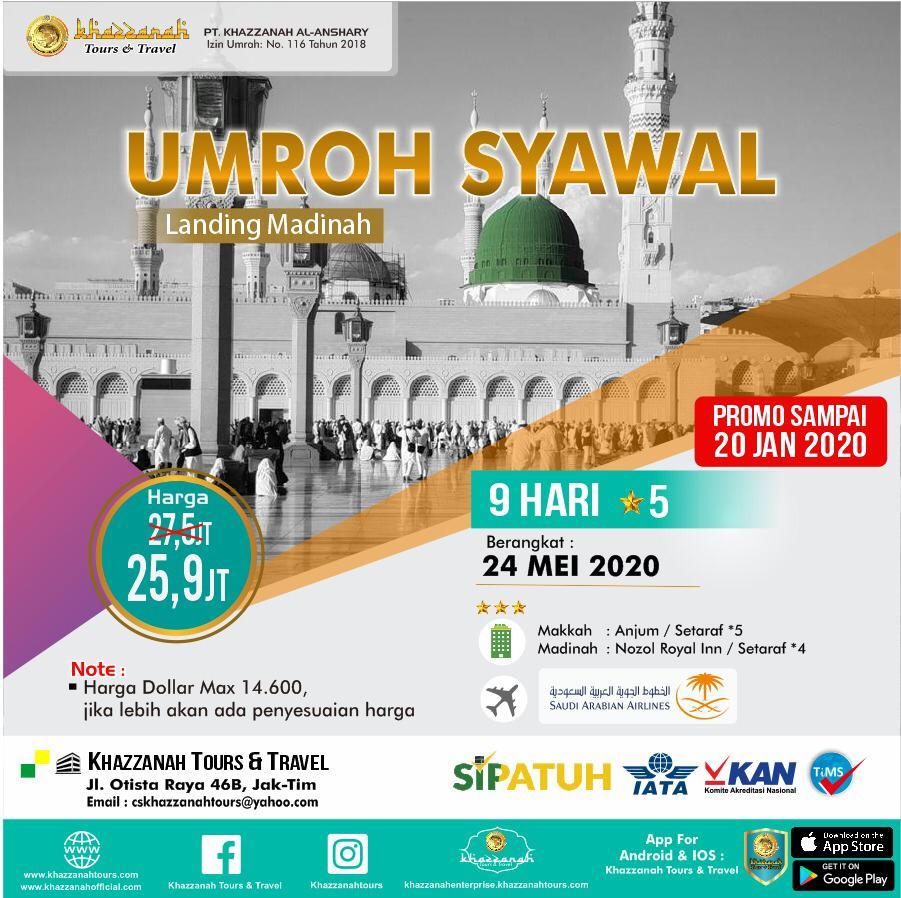 Paket Umroh Syawal 24 Mei Khazzanah Tour & Travel