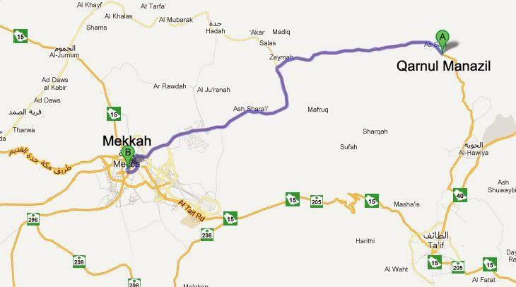 Peta Qornul Manazil Makkah