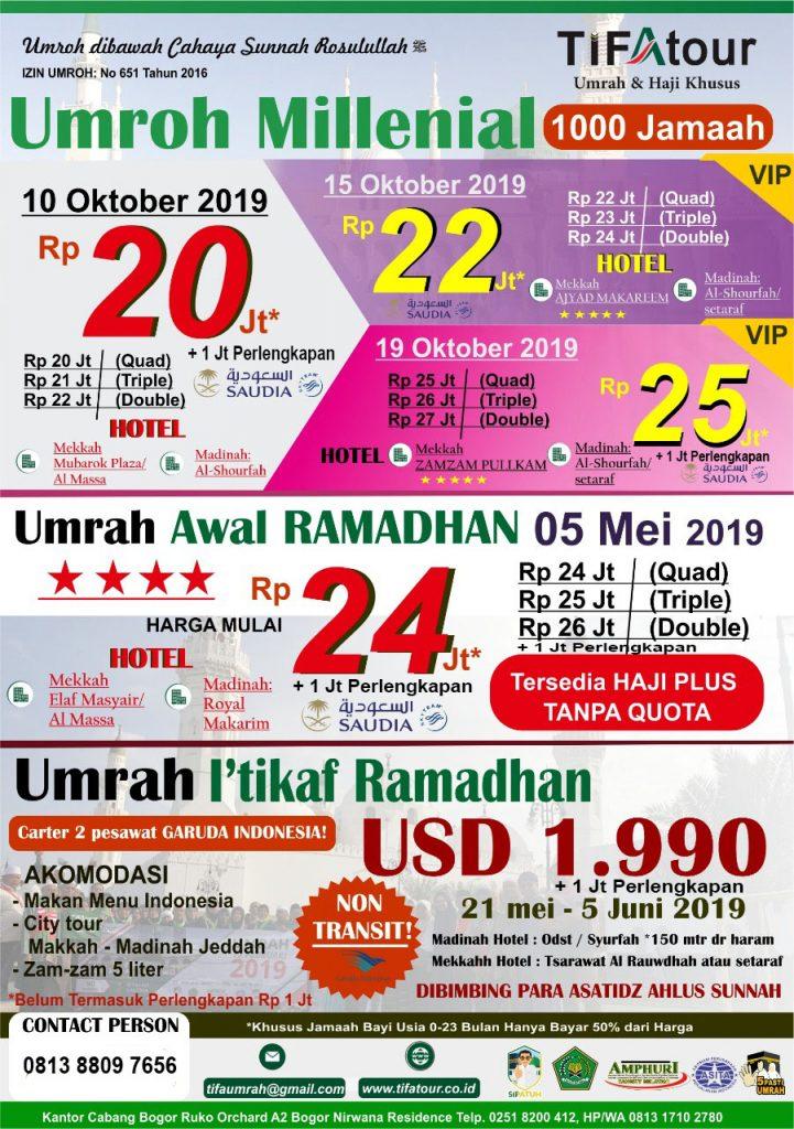 Paket Umroh Murah Oktober November Desember 2019-2020-2021-2022 Tifa Tour