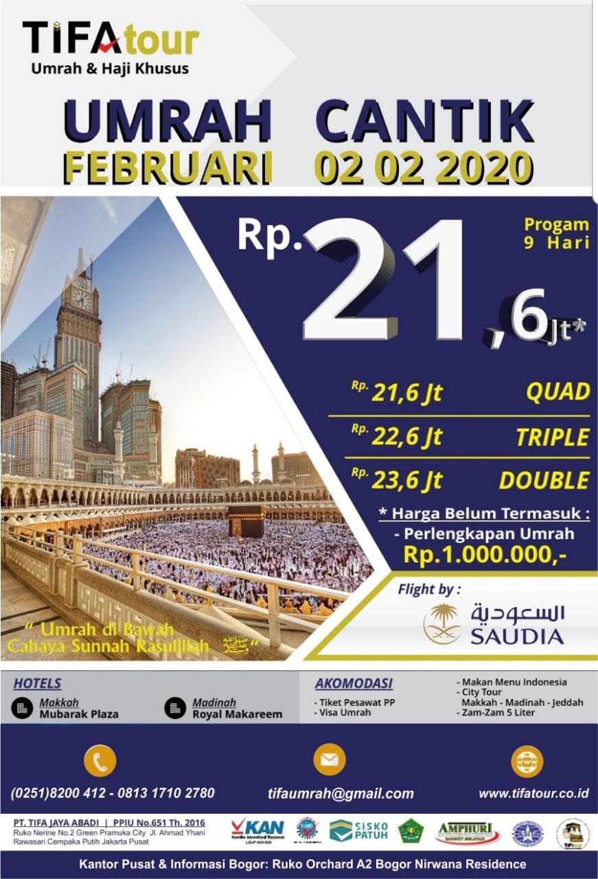 Biaya Umroh Murah 22,6 Juta Februari Tifa Tour